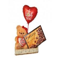 Peluchito con chocolates Helena y Globo de amor