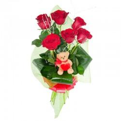 Ramo 6 rosas rojas y peluche