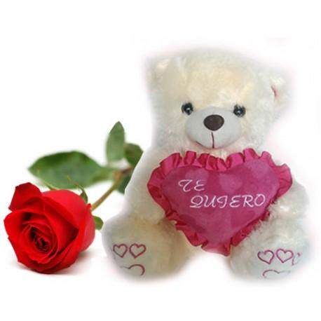 Peluche Te Quiero y rosa