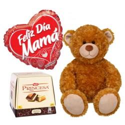 Globo Feliz día mamá, peluche y chocolates Princesa