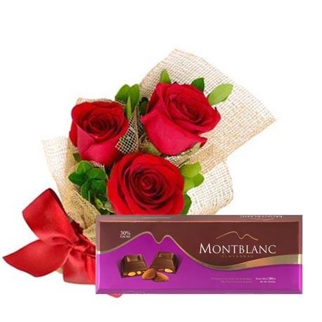 3 rosas rojas en moño